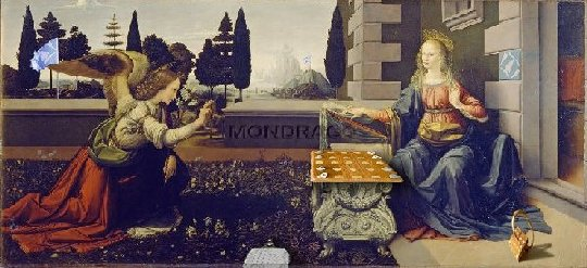 """""""Die Verkündigung der Mondrago-Spielregel""""  (frei nach Leonarda da Vinci um 1472)"""